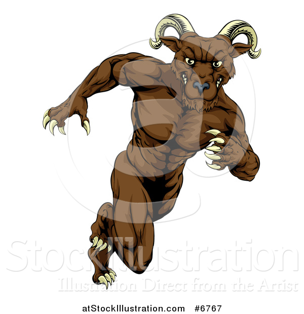 Vector Illustration of a Muscular Brown Ram Monster Man Running Upright