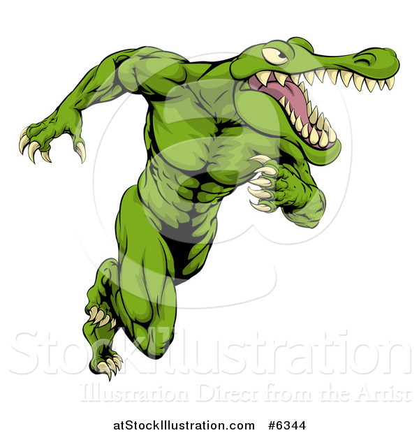 Vector Illustration of a Muscular Crocodile or Alligator Man Sprinting Upright
