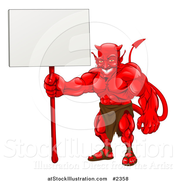 Vector Illustration of a Muscular Devil Holding a Blank Sign