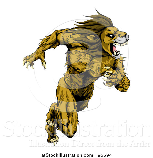 Vector Illustration of a Muscular Fierce Sprinting Lion Man Mascot