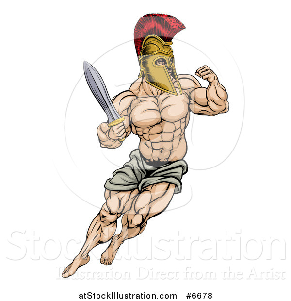 Vector Illustration of a Muscular Gladiator Gladiator Man in a Helmet Fighting with a Sword