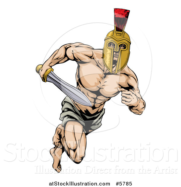 Vector Illustration of a Muscular Gladiator in a Helmet Running with a Sword