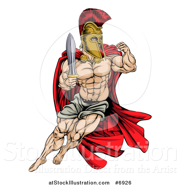 Vector Illustration of a Muscular Gladiator Man in a Helmet Fighting with a Sword and Holding up a Fist