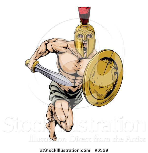 Vector Illustration of a Muscular Gladiator Man in a Helmet Running with a Sword and Shield