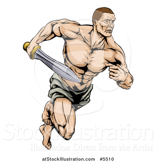 Vector Illustration of a Muscular Gladiator Running with a Sword
