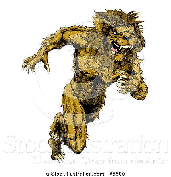 Vector Illustration of a Muscular Male Lion Mascot Running Upright