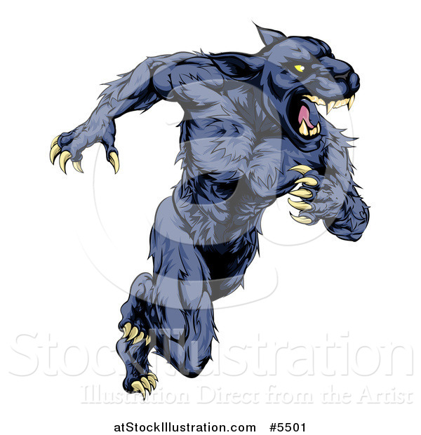 Vector Illustration of a Muscular Panther Mascot Running Upright