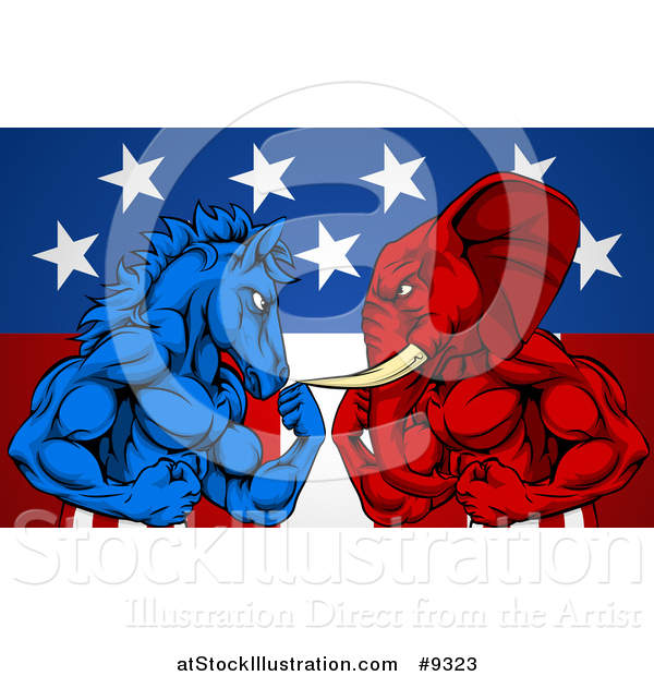 Vector Illustration of a Muscular Political Aggressive Democratic Donkey or Horse and Republican Elephant Battling over an American Flag and Burst