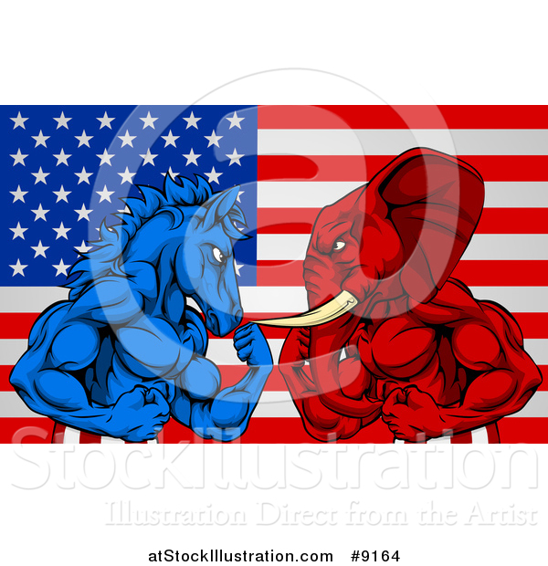 Vector Illustration of a Muscular Political Aggressive Democratic Donkey or Horse and Republican Elephant Battling over an American Flag