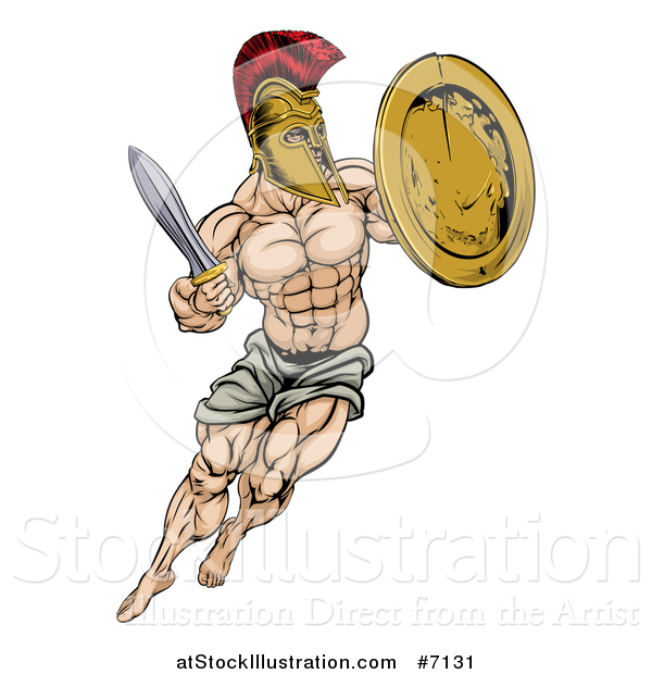 Vector Illustration of a Muscular Spartan Man in a Helmet Fighting and Jumping with a Sword and Shield