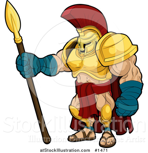 Vector Illustration of a Muscular Spartan or Trojan Gladiator Warrior in Golden Armor, Standing with a Spear