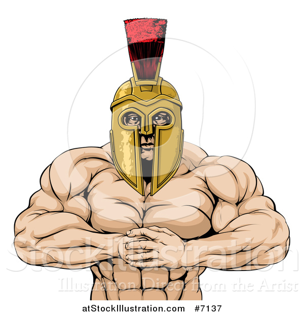 Vector Illustration of a Muscular Spartan Warrior Man Gesturing Bring It with His Fists