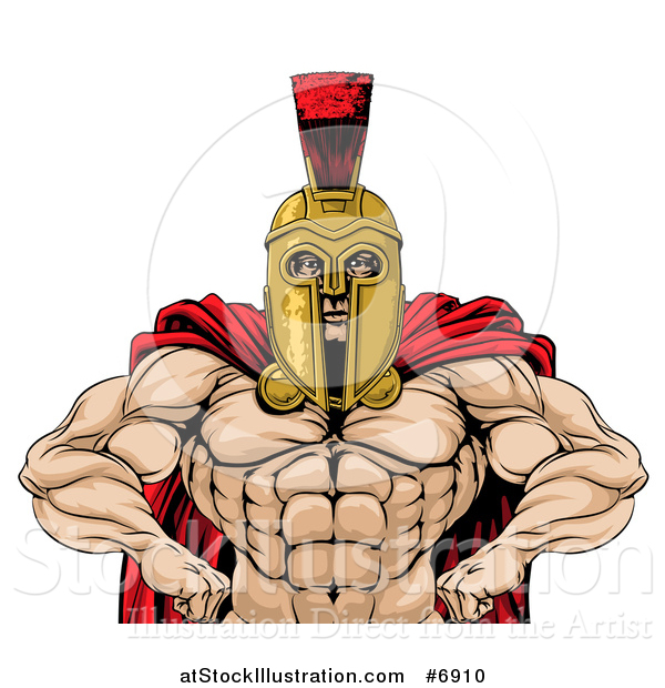 Vector Illustration of a Muscular Spartan Warrior with a Bare Chest and Hands on His Hips