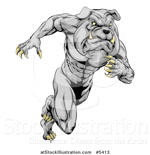 Vector Illustration of a Muscular Sports Bulldog Mascot Running
