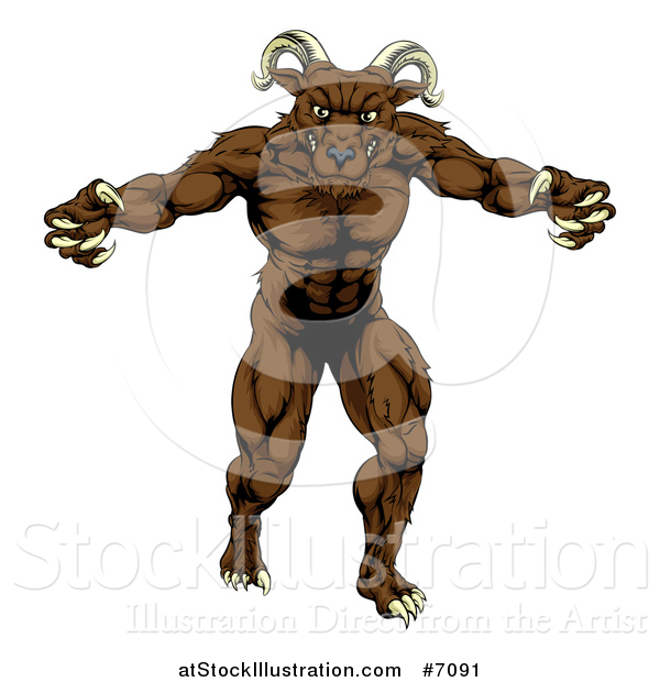 Vector Illustration of a Muscular Threatening Ram with Claws
