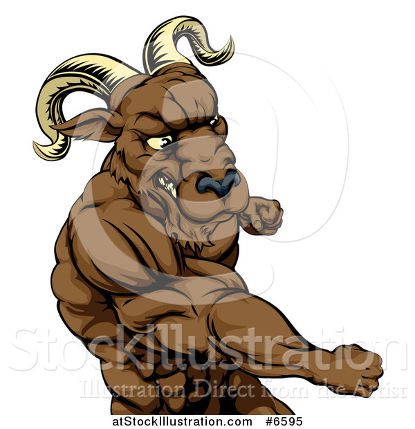 Vector Illustration of a Muscular Tough Angry Ram Man Punching