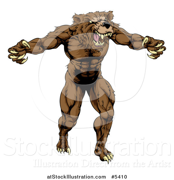 Vector Illustration of a Muscular Vicious Bear