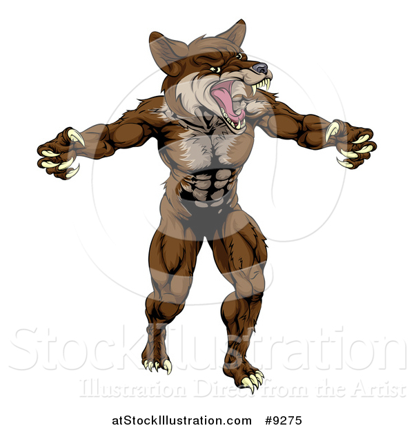 Vector Illustration of a Muscular Vicious Brown Coyote or Wolf Man