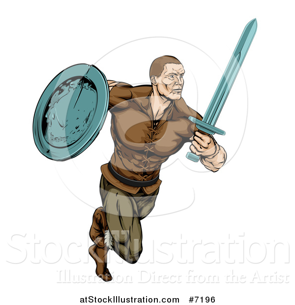 Vector Illustration of a Muscular Viking Warrior Sprinting with a Sword and Shield