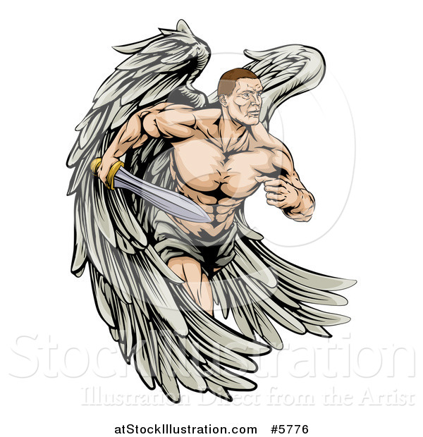 Vector Illustration of a Muscular Warrior Angel Running with a Sword