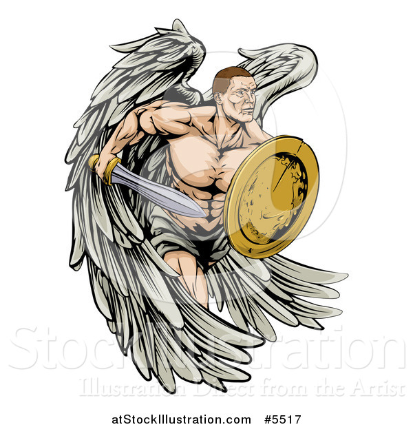 Vector Illustration of a Muscular Warrior Angel with a Sword and Shield