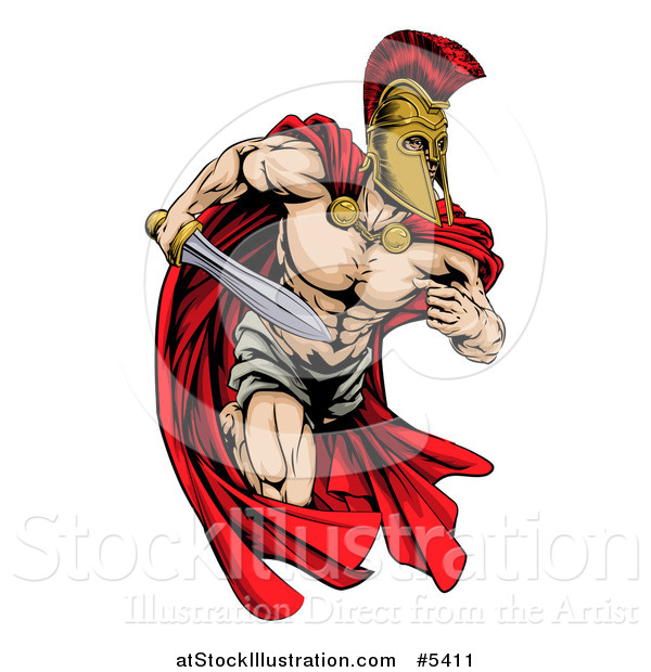 Vector Illustration of a Musular Spartan Trojan Warrior Mascot Running with a Sword