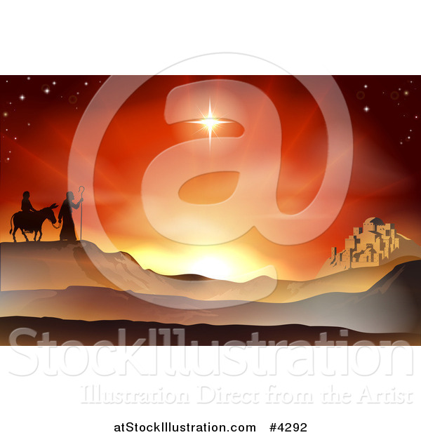 Vector Illustration of a Nativity Mary and Joseph Journeying Through the Desert at the City of Bethlehem