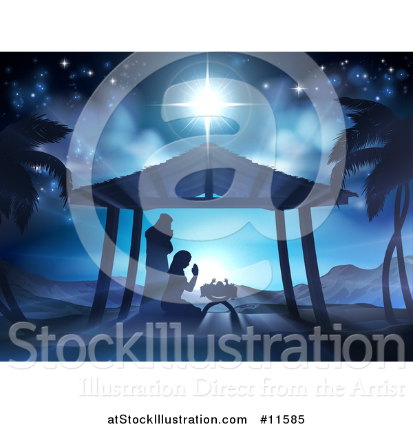 Vector Illustration of a Nativity Scene of Mary and Joseph Praying over Baby Jesus in a Manger
