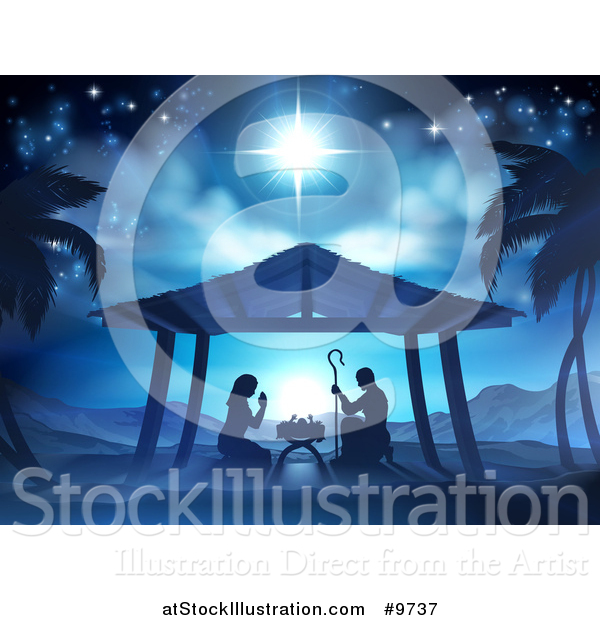 Vector Illustration of a Nativity Scene of Mary and Joseph Praying over Baby Jesus, with Palm Trees