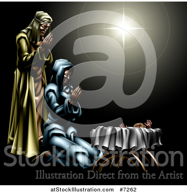 Vector Illustration of a Nativity Scene of the Star, Praying Joseph and Mary and Baby Jesus