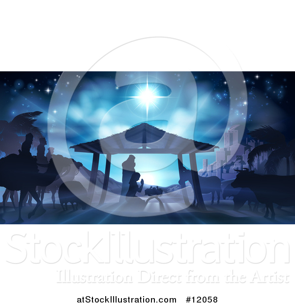 Vector Illustration of a Nativity Scene with Animals, Wise Men, the City of Bethlehem and Star of David