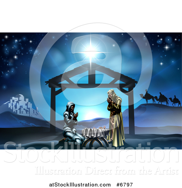 Vector Illustration of a Nativity Scene with the Animals and Wise Men in the Distance and the City of Bethlehem, Mary and Joseph Praying in the Manger