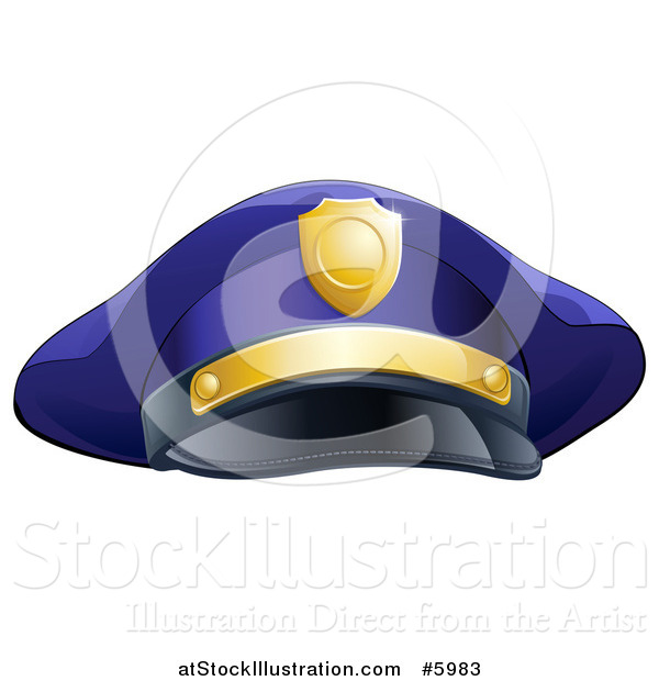 Vector Illustration of a Navy Blue Police Man's Hat with Gold Accents