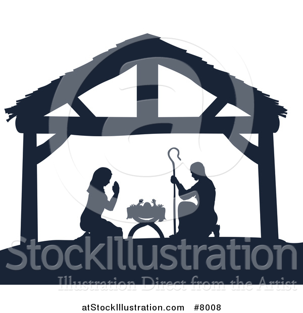 Vector Illustration of a Navy Blue Silhouetted Mary and Joseph Praying over Baby Jesus in a Manger