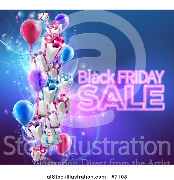Vector Illustration of a Neon Black Friday Sale Text with 3d Party Balloons and Floating Gifts on Blue