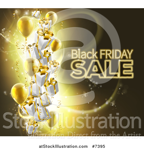 Vector Illustration of a Neon Black Friday Sale Text with 3d Party Balloons and Floating Gifts on Gold and Black
