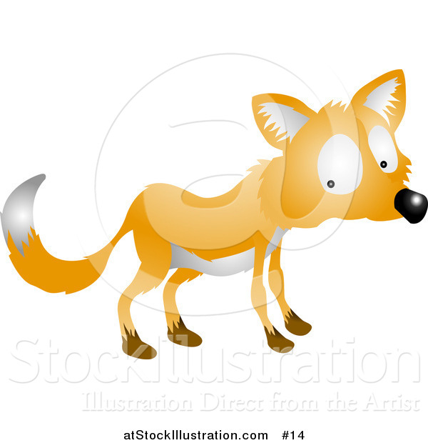 Vector Illustration of a Nervous or Shy Fox Looking Back over His Shoulder
