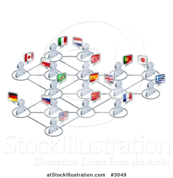 Vector Illustration of a Network of 3d Avatar People with Flags