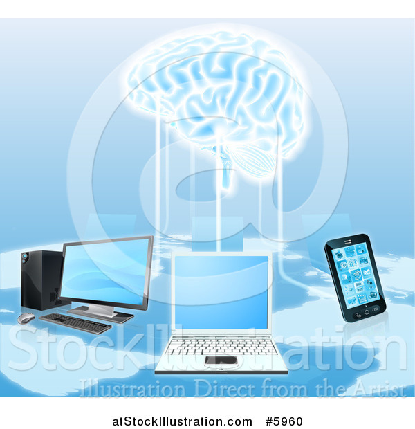 Vector Illustration of a Network of Laptops, Cell Phones, and Computers Connected to a 3d Brain