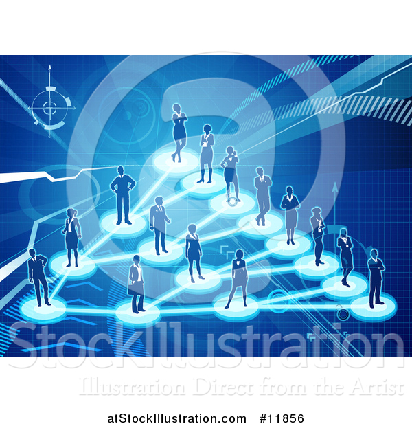 Vector Illustration of a Network of Silhouetted People Connected on a Blue Background