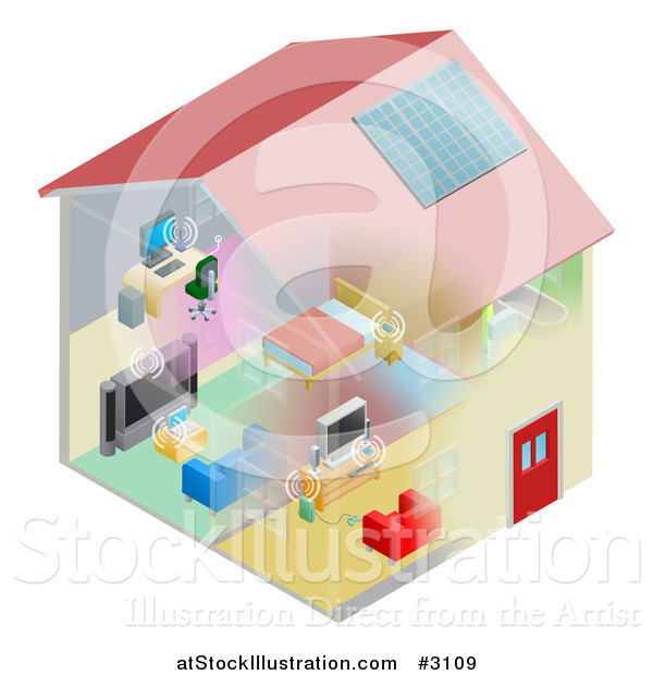 Vector Illustration of a Networking and Wireless Items in a House