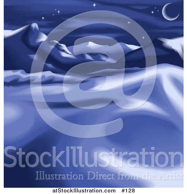 Vector Illustration of a Night Winter Landscape with Snow, Mountains and the Moon