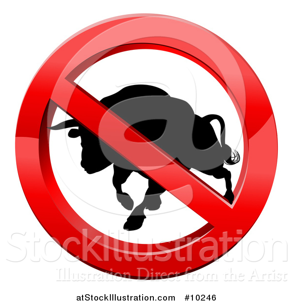 Vector Illustration of a No Bull Black Silhouetted Bovine Charging in a Shiny Red Prohibited Symbol