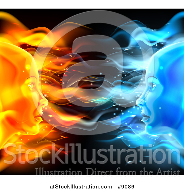 Vector Illustration of a Opposite Profiled Fire and Ice Female Faces on Black