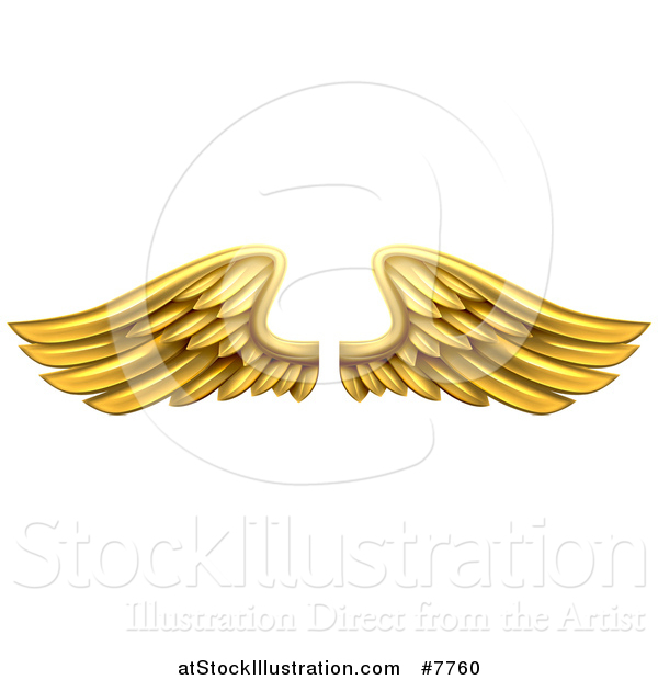 Vector Illustration of a Pair of 3d Metal Gold Wings