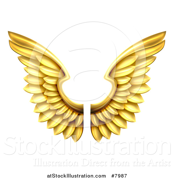 Vector Illustration of a Pair of 3d Metal Golden Wings