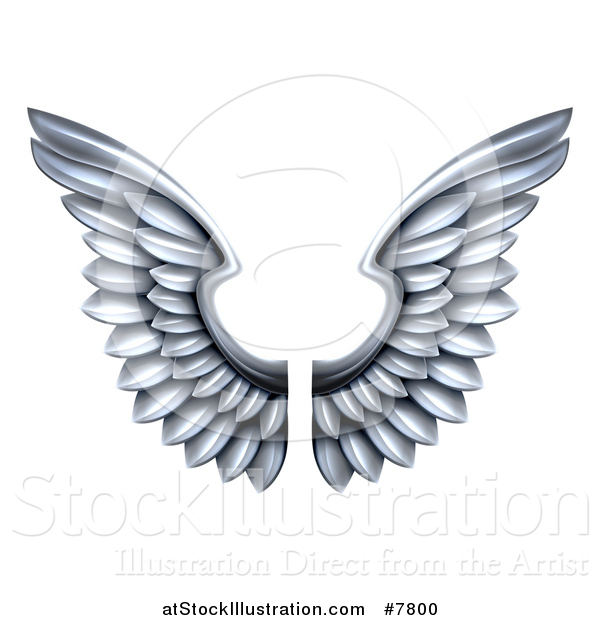Vector Illustration of a Pair of 3d Metal Silver Wings