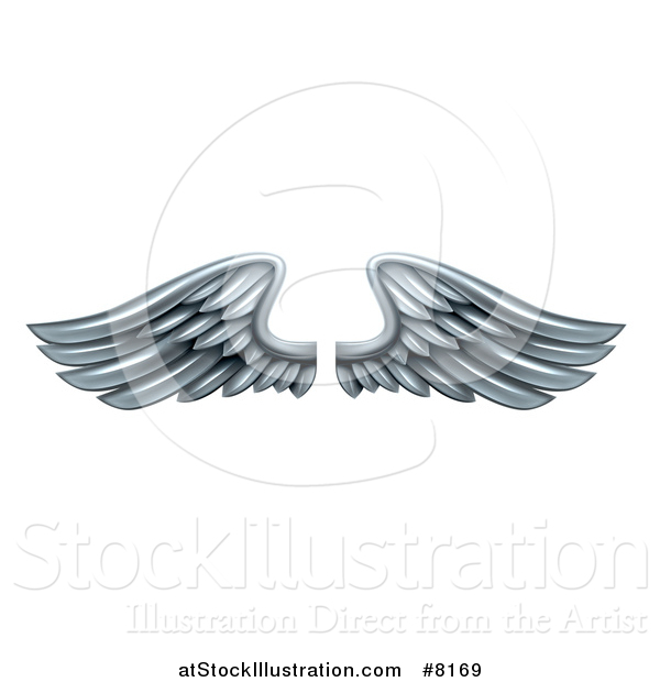 Vector Illustration of a Pair of 3d Silver Metal Wings