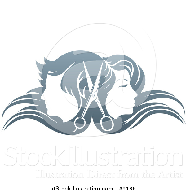 Vector Illustration of a Pair of Scissors Between Male and Female Faces Back to Back, in Profile, with Long Hair Waving in the Wind
