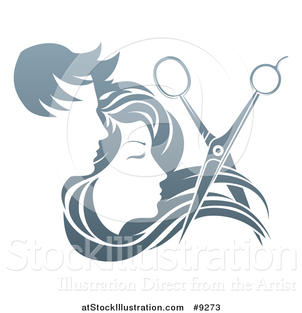 Vector Illustration of a Pair of Scissors Cutting Hair in Front of Male and Female Faces